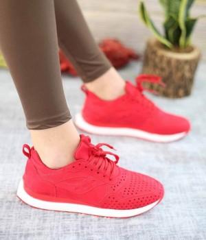 Zumba Kırmızı Süet Lazer Kesim Bağcıklı Spor Kadın Ayakkabı