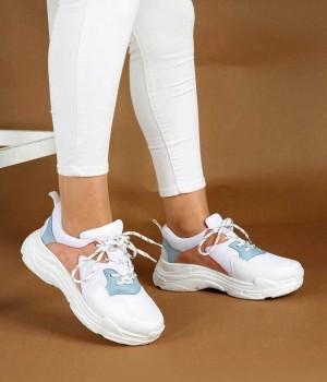 Beyaz Renk Mavi Pudra Desenli Kadın Spor Ayakkabı