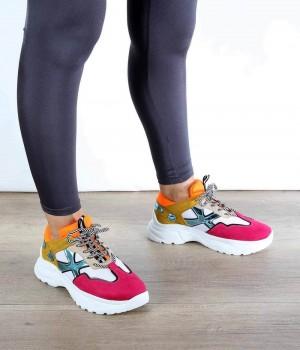 Fuşya Turuncu Bağcıklı Desenli Kadın Spor Ayakkabı