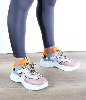 Pudra Turuncu Bağcıklı Desenli Kadın Spor Ayakkabı