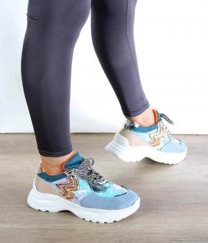 Mavi Renkli Pul Detaylı Desenli Bağcıklı Kadın Spor Ayakkabı