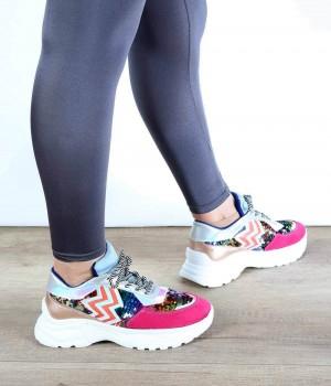 Fuşya Renkli Pul Detaylı Desenli Bağcıklı Kadın Spor Ayakkabı
