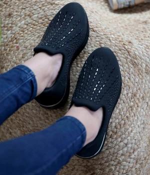 Newell Siyah Likralı Taş İşlemeli Kadın Spor Ayakkabı