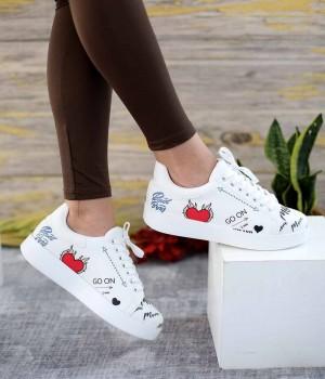 Graphic Beyaz Cilt Desenli Bağcıklı Spor Kadın Ayakkabı