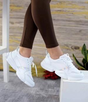 Explore Beyaz Cilt Pump Taban Bağcıklı Spor Kadın Ayakkabı