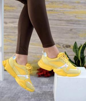 Explore Sarı Süet Pump Taban Bağcıklı Spor Kadın Ayakkabı