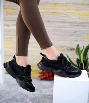 Explore Siyah Süet Pump Taban Bağcıklı Spor Kadın Ayakkabı