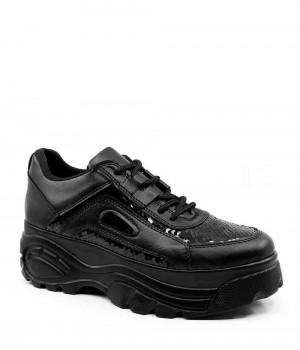 Clayne Siyah Cilt Pullu Bağcıklı Kadın Spor Ayakkabı