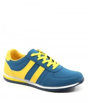 Strong Petrol Sarı Çizgili Bağcıklı Kadın Spor Ayakkabı