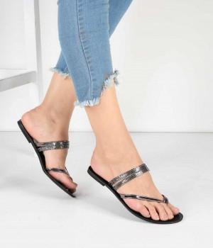 Platin Parmak Arası Taşlı Kemer Tasarım Kadın Sandalet