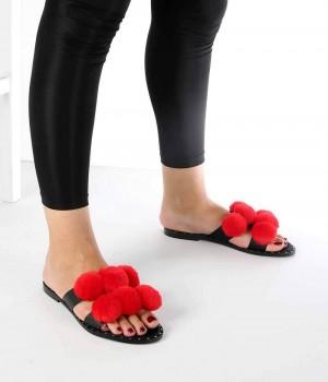 Frida Kırmızı Ponpon Kemer Kadın Terlik