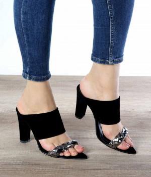 Gabriella Siyah Süet Örgü Kemer Kadın Ayakkabı