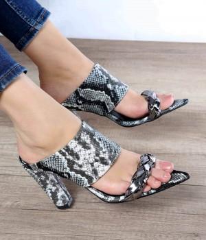 Gabriella Siyah Yılan Örgü Kemer Kadın Ayakkabı