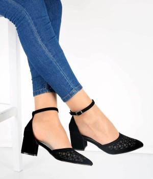 Siyah Süet Desenli Bilek Bağlı Topuklu Kadın Ayakkabı