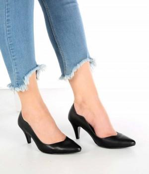 Moreno Siyah Cilt Kısa Topuk Kadın Stiletto