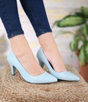 Filipa Mavi Cilt Topuklu Kadın Ayakkabı