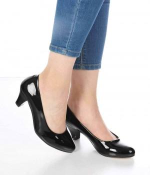 Eldora Siyah Rugan Kısa Topuk Kadın Ayakkabı