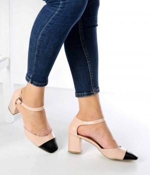 Vesper Ten Siyah Sivri Burun Topuklu Kadın Ayakkabı