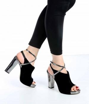 Elenore Siyah Süet Platin Topuk Kadın Ayakkabı