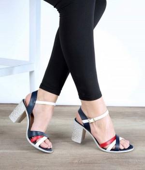 Lacivert Cilt Renkli Kemer Bilek Bağlı Topuklu Kadın Ayakkabı
