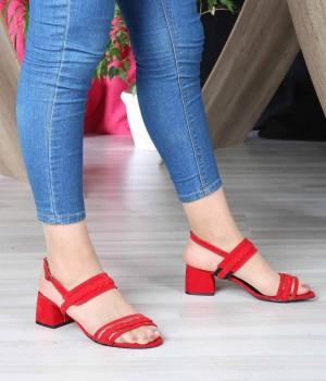 Kırmızı Süet Şeffaf Örgü Kemer Bilek Bağlı Kadın Ayakkabı
