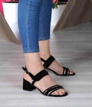Siyah Süet Şeffaf Örgü Kemer Bilek Bağlı Kadın Ayakkabı