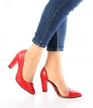 Juliette Kırmızı Cilt Şeffaf Kenar Topuklu Kadın Ayakkabı