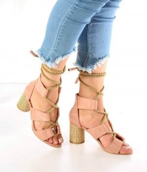 Sienna Pudra Süet Urgan Bağcık Topuklu Kadın Ayakkabı