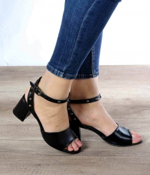 Silvana Siyah Cilt Topuklu Kadın Ayakkabı