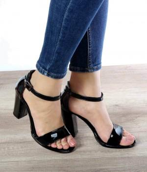 Terra Siyah Rugan Topuklu Kadın Ayakkabı