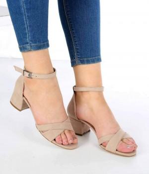 Perlita Ten Süet Çapraz Kemer Topuklu Kadın Ayakkabı