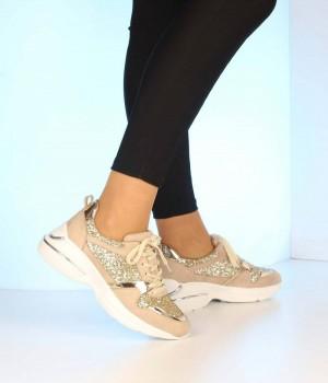 Bej Süet Cam Kırığı Desen Kadın Spor Ayakkabı