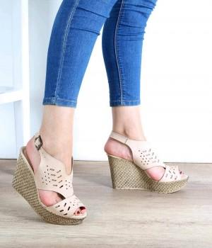 Bej Süet Lazer Kesim Dolgu Topuk Kadın Ayakkabı