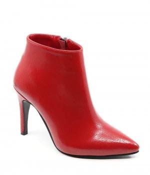 Bellance Kırmızı Baskı Rugan İnce Topuk Fermuarlı Kadın Bot