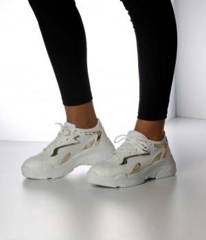 Beyaz Altın Bağcıklı Kadın Spor Ayakkabı