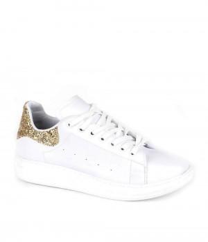 Venetia Beyaz Cilt Bakır Cam Kırığı Sırt Bağcıklı Kadın Spor Ayakkabı