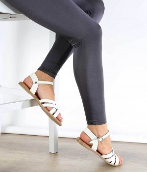 Beyaz Cilt Çapraz Örgü Bilek Bağlı Kadın Sandalet