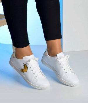 Beyaz Cilt Çavuş Armalı Kadın Spor Ayakkabı