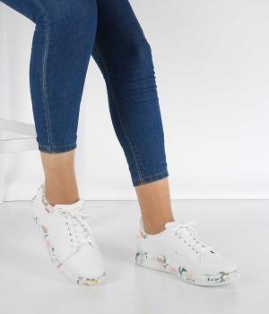 Beyaz Cilt Çiçek Desenli Bağcıklı Kadın Spor Ayakkabı