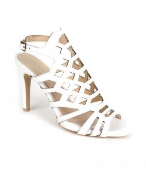 Beyaz Cilt Desenli Lazer Kesim Bilek Bağlı Kadın Ayakkabı
