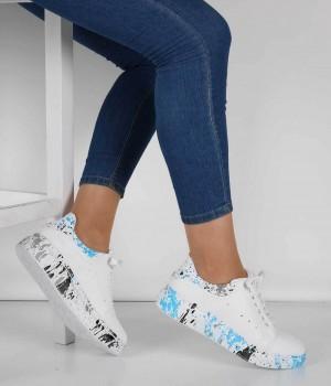Beyaz Cilt Grafik Desen Bağcıklı Kadın Spor Ayakkabı