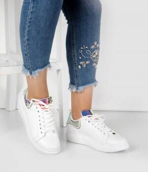 Beyaz Cilt Hologram Desen Bağcıklı Kadın Spor Ayakkabı