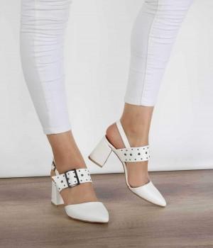 Beyaz Cilt Kemer Detaylı Topuklu Kadın Ayakkabı