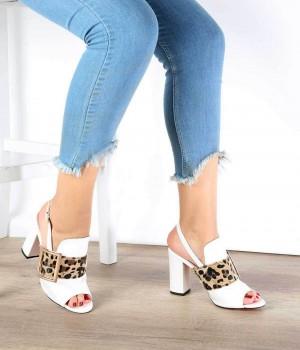 Beyaz Cilt Leopar Desen Topuklu Kadın Ayakkabı