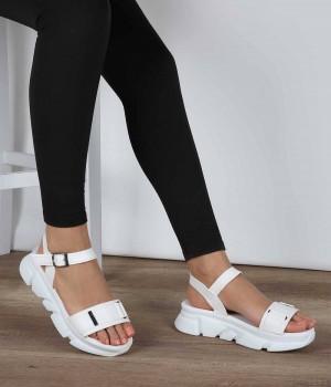 Beyaz Cilt Poli Taban Bilek Bağlı Kadın Sandalet