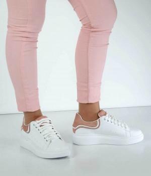 Beyaz Cilt Pudra Desen Bağcıklı Kadın Spor Ayakkabı