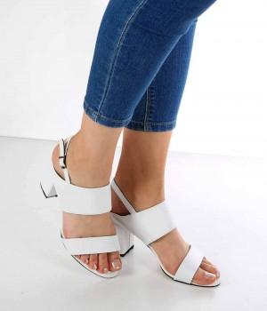Beyaz Cilt Topuktan Bağlı Kalın Topuk Kadın Ayakkabı