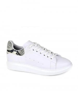 Venetia Beyaz Cilt Yılan Desen Sırt Bağcıklı Kadın Spor Ayakkabı