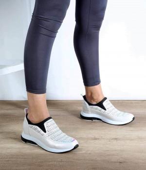 Beyaz Desenli Cilt Likra Boğaz Kadın Spor Ayakkabı