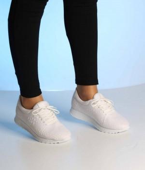 Beyaz Kabartma Desen Bağcıklı Kadın Spor Ayakkabı